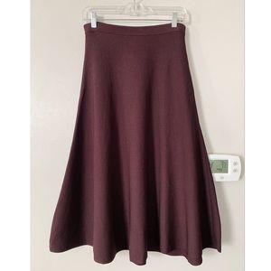 H&M Maroon Midi Skirt
